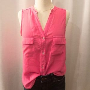 Bright Pink Button-Down Tank. Small.